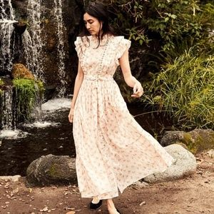 Doen Carnation Dress in White Poppy print